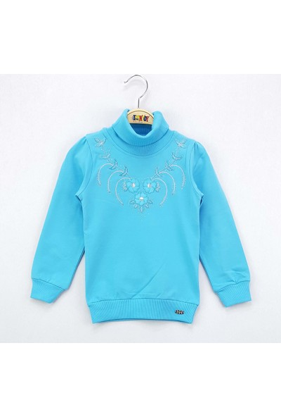 Toontoy Kız Çocuk Sweatshirt Çiçek Nakış Balıkçı Yaka İçi Şardon