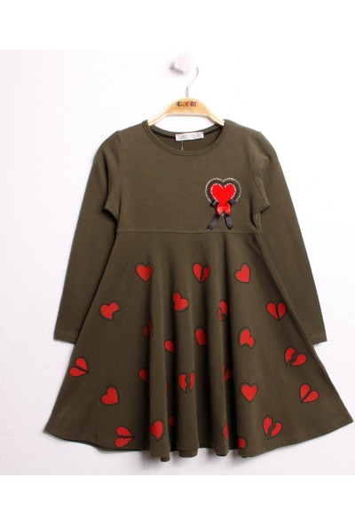 Toontoy Kız Çocuk Elbise Kalp Nakışlı Fiyonk Aksesuarlı