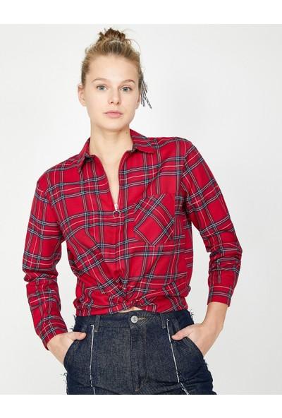 Koton Kadın Fermuar Detaylı Bluz