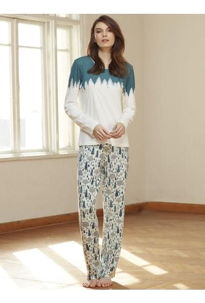 Catherine'S 1332 Desenli Uzun Kol Kadın Pijama Takım