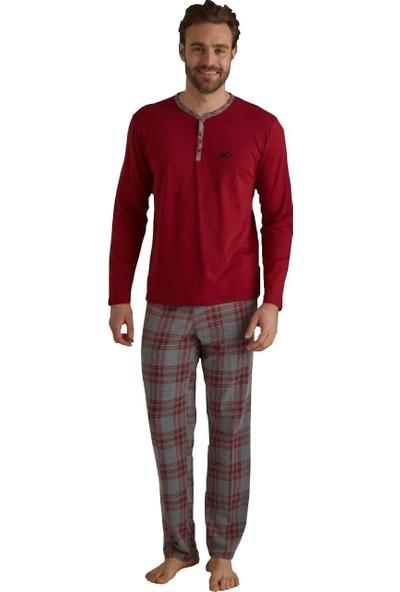 Mod Collection 3087 Patlı Ekose Kareli Uzun Kol Erkek Pijama Takım