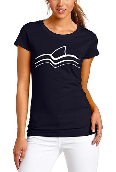 Scubapromo Shark Dalga Siyah Bayan Dalış Tişört