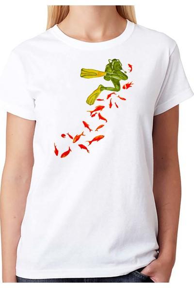 Scubapromo Balıklar Ve Dalgıç Bayan Dalış Tişört
