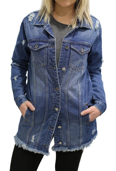 Lacarino 5129 Sara Kadın Kot Ceket Mavi