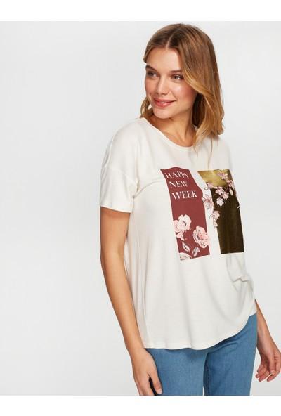 Faik Sönmez Kadın Baskılı T-Shirt 38725