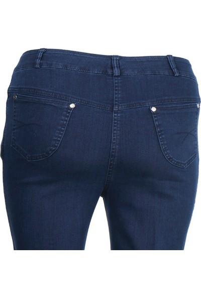 Rüşetül Büyük Beden Yüksek Bel Likralı Kadın Kot Pantolon