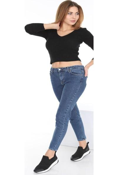 Gül Moda Kadın Dar Paça Kot Pantolon Mavi