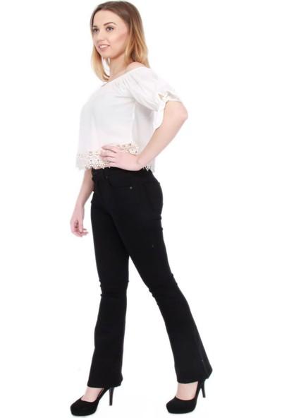 Gül Moda Kadın İspanyol Paça Kot Pantolon Siyah