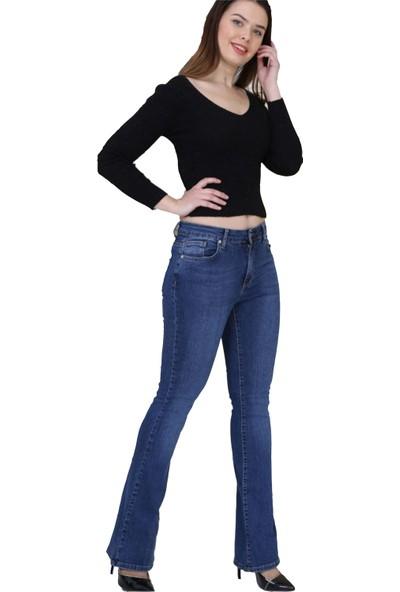Gül Moda Kadın İspanyol Paça Kot Pantolon Mavi
