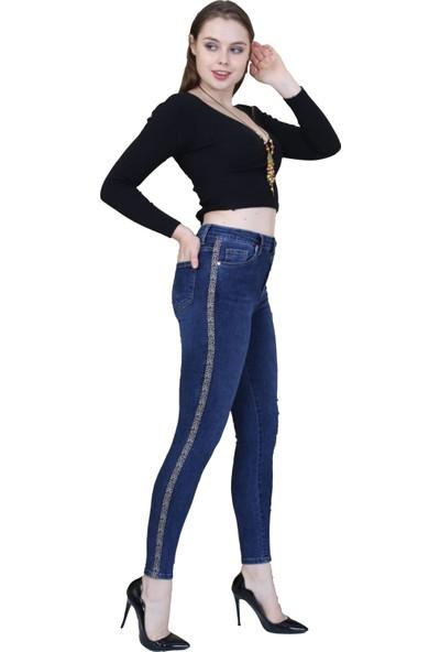 Gül Moda Kadın Yanları Leopar Şeritli Kot Pantolon Mavi