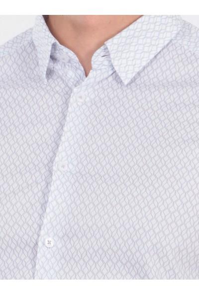 KİP Desenli Dokuma Uzun Kollu Gömlek