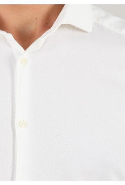 Ramsey Desenli Dokuma Uzun Kollu Gömlek