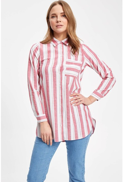 Defacto Kadın Dikey Çizgili Tek Cepli Uzun Kollu Gömlek Tunik
