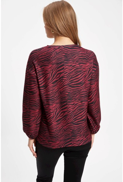 Defacto Kadın Uzun Kollu Zebra Desenli T-shirt