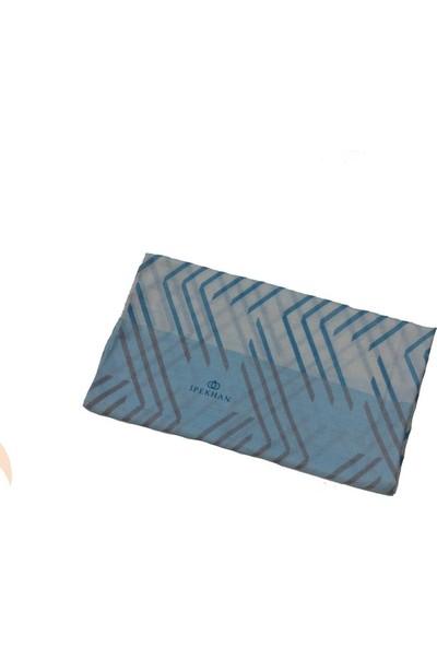 İpekhan Geometrik Desen Şal Bebe Mavisi - Krem