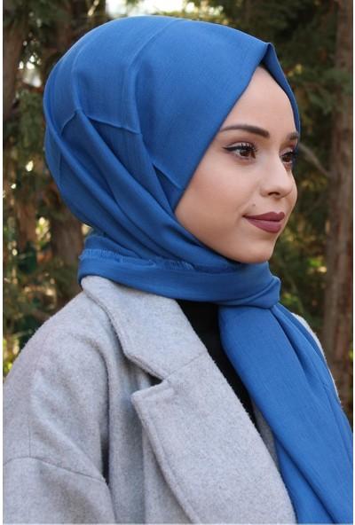 Alisya Pamuklu Şal Kobalt Mavisi