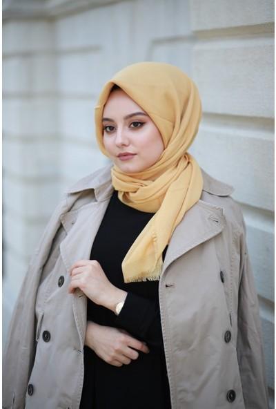 Alisya Pamuklu Düz Renk Şal Eşarp Hardal Sarısı