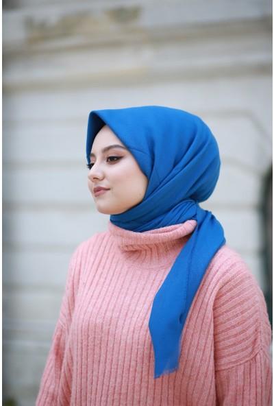 Alisya Pamuklu Düz Renk Şal Eşarp Kobalt Mavi