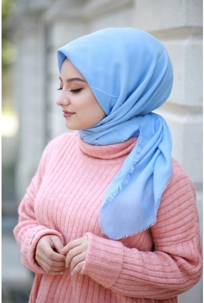 Alisya Pamuklu Düz Renk Şal Eşarp Bebe Mavisi