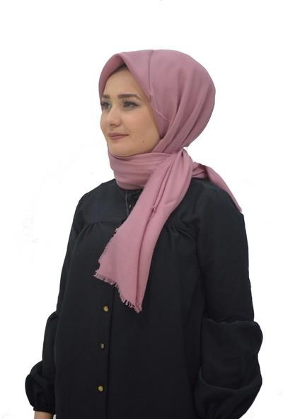 Alisya Pamuklu Düz Renk Şal Eşarp Gül Kurusu