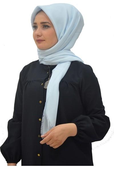 Alisya Pamuklu Düz Renk Şal Eşarp Buz Mavi