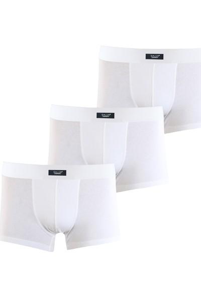 Sajja Erkek Underwear 3'Lü Beyaz Boxer