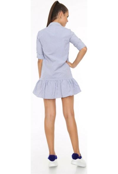 Her Mod'a Bir Moda Çizgili Elbise