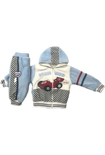 Erkek Bebek 2li Takım Kışlık Pantolon Hırka Nakışlı Mavi Bestido 4121