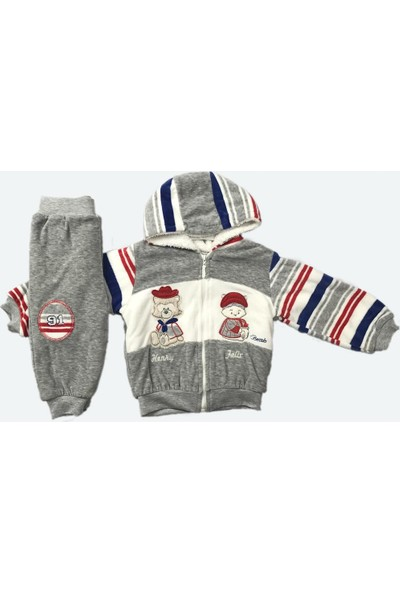 Erkek Bebek 2li Takım Kışlık Pantolon Hırka Gri 4423 Bestido