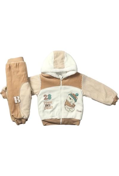 Erkek Bebek 2li Takım Kışlık Pantolon Hırka Bej Bestido 4771