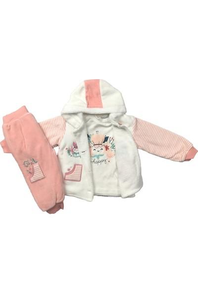 Kız Bebek 3lü Takım Kışlık Pantolon Badi Hırka Pudra Bestido 4782