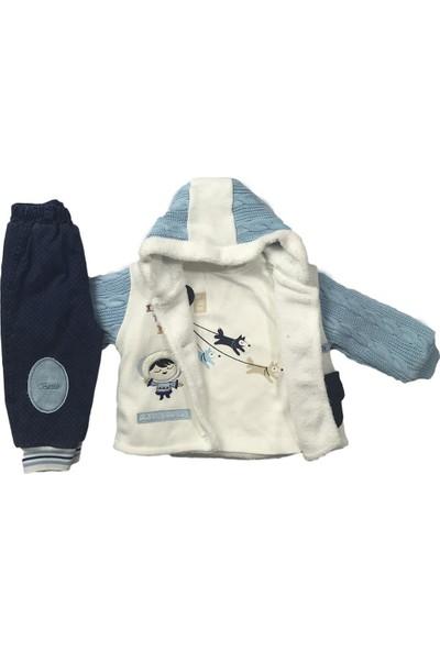 Erkek Bebek 3lü Takım Kışlık Pantolon Badi Hırka Mavi Bestido 4790