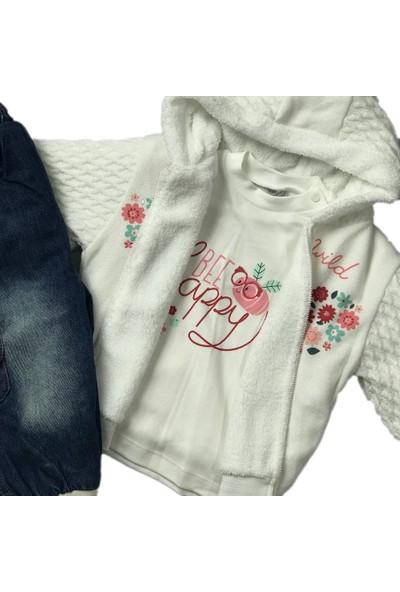 Kız Çocuk 3lü Takım Kışlık Kot Pantolon Badi Hırka Ekru Bestido 4794