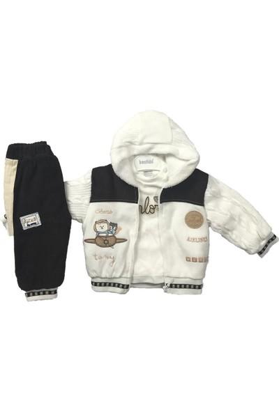 Erkek Bebek 3lü Takım Kışlık Pantolon Badi Hırka Kahve Bestido 4798