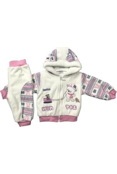 Kız Bebek 2li Takım Kışlık Pantolon Hırka Pembe Bestido 5085