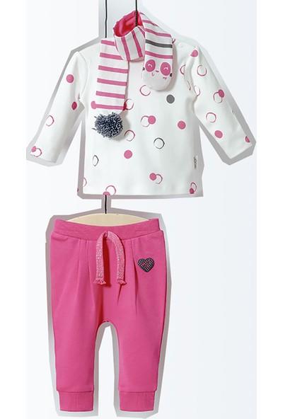 Wogi Kız Bebek Alt Üst Pijama Atkı 3lü Takım 3-15 Ay 5181