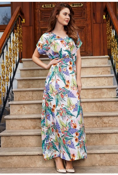 Anıl Kadın Çiçekli Uzun Elbise An5477