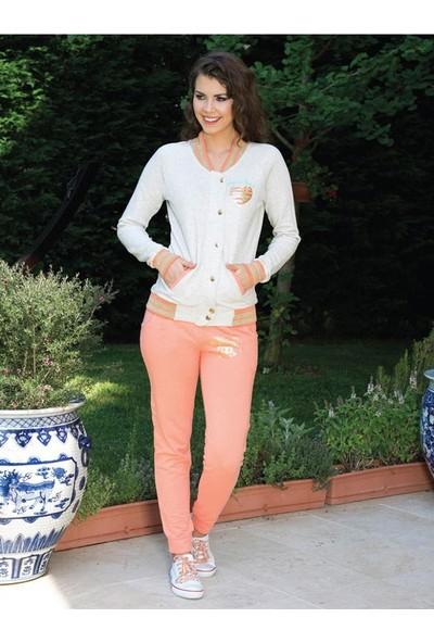 Anıl 9344 Kadın Pijama Kışlık Düğme Detaylı Üst Pantolon 2'li Takım