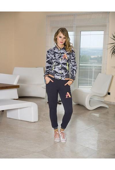 Anıl 9350 Kadın Pijama Kışlık Kamuflaj Sweatshirt Pantolon 2'li Takım