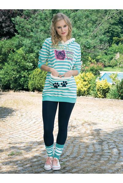 Anıl 9353 Kadın Pijama Pamuklu Tayt Tozluk 3'lü Takım