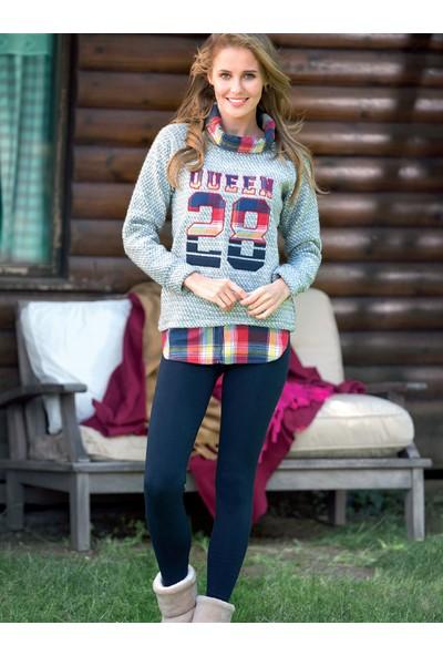 Anıl 9417 Kadın Pijama Kışlık Baskılı Üst Tayt 2'li Takım