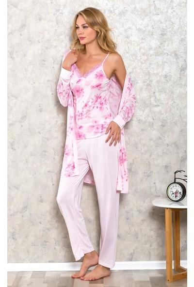Lingabooms 2308 Kadın Pijama 4 Çicekli Sabahlık Üst Pantolon 3'lü Takım