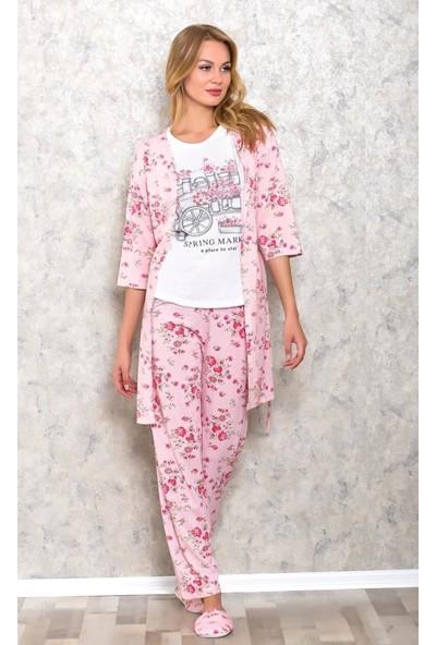 Boyraz Kadın Pijama Alt Üst Sabahlık Terlik Uyku Gözlüğü Takım Bo9509