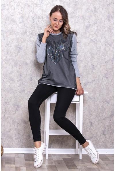 Kadın Pul Payet Kalp İşlemeli Tül Dikişli Sweatshirt De004