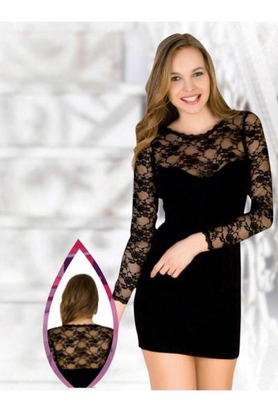 Piaff 700 Kadın 4 Mevsim Dantelli Kısa Gecelik Elbise