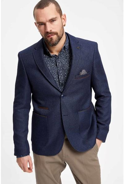 Defacto Erkek Mendil Detaylı Dirsek Yamalı Modern Fit Blazer Ceket