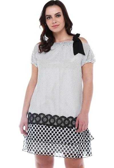 B&S Line Siyah Beyaz Puanlı Yakası Bağlamalı Şifon Elbise
