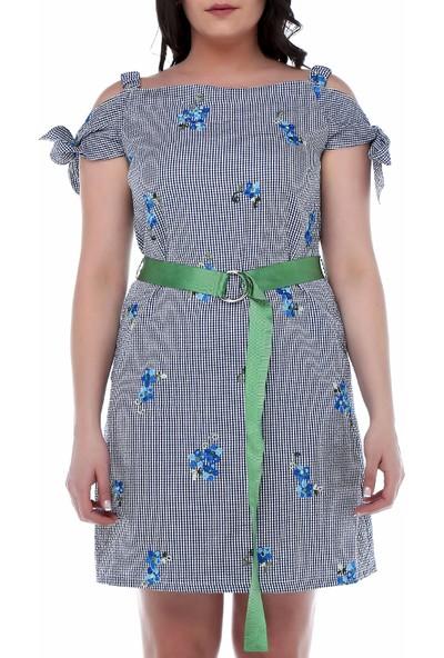 B&S Line Saks Çiçekli Pitikare Omuzu Açık Elbise