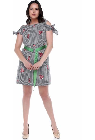 B&S Line Kırmızı Çiçekli Pitikare Omuzu Açık Elbise