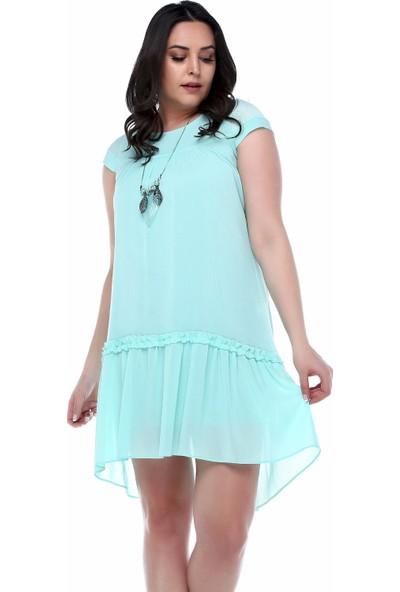 B&S Line Eteği Fırfırlı Mint Elbise